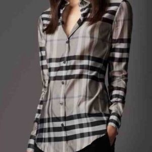 Burberry London Checked Long Sleeve Button Shirt